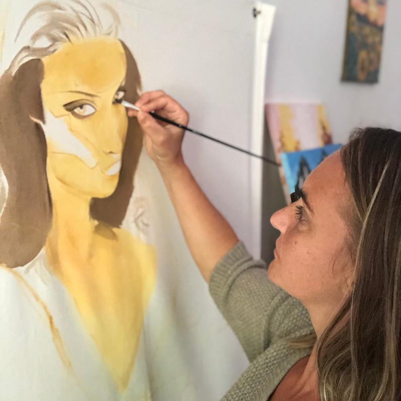 """""""Passions et centres d'intérêts"""" dans le portfolio de Katarzyna Boduch, L'image représente une situation - l'auteur artiste freelance Katarzyna Boduch entrain de peindre une femme sur une toile en coton avec le pinceau pour le concours Art XXL des Papillons de Carpentras - Acrylique"""