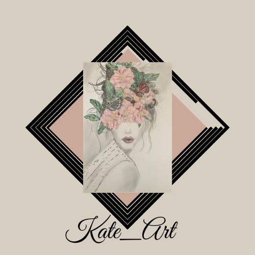"""Dans le """"A propos de moi"""" dans le portfolio de Katarzyna Boduch, un logo Kate_Art, carré sur un fond gris très claire présente au milieu un dessin fait aux crayons dans les tons gris et rose - un portrait d'une femme avec les yeux et cheveux cachés par les fleurs et papillons. Un dessin superposé sur un cadre carré noir et fond rose. Juste en bas de dessin le nom Kate_Art est écrit avec une jolie écriture graphique noir"""