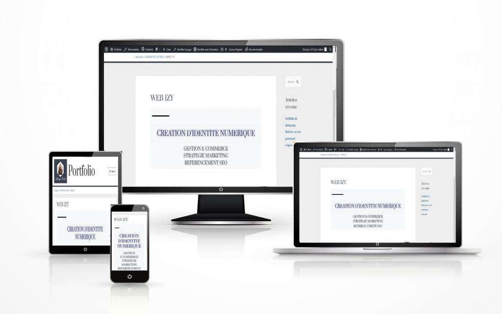 Illustration composés de 4 écrans : ordinateur, ordinateur portable, tablette et téléphone en mode responsive, c'est à dire avec l'image de la page web WEB-IZY, activité de Katarzyna Boduch sur l'Idéntité Numérique a, adapté sur la taille des écrans divers.